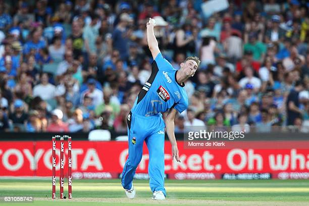 Billy Stanlake of the Adelaide Strikers bowls during the Big Bash League match between the Adelaide Strikers and the Hobart Hurricanes at Adelaide...