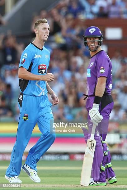 Billy Stanlake of the Adelaide Strikers celebrates after getting the wicket of Dan Christian of the Hobart Hurricanes during the Big Bash League...