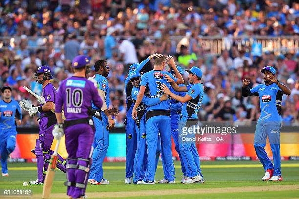 Billy Stanlake of the Adelaide Strikers celebrates after taking a wicket during the Big Bash League match between the Adelaide Strikers and the...