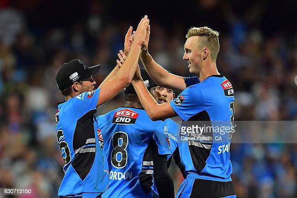 Billy Stanlake of the Adelaide Strikers celebrtates during the Big Bash League match between the Adelaide Strikers and Sydney Sixers at Adelaide Oval...
