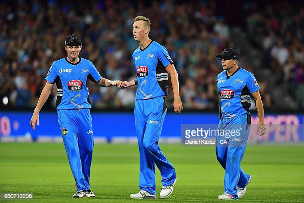 Billy Stanlake of the Adelaide Strikers reacts after taking a wicket during the Big Bash League match between the Adelaide Strikers and Sydney Sixers...