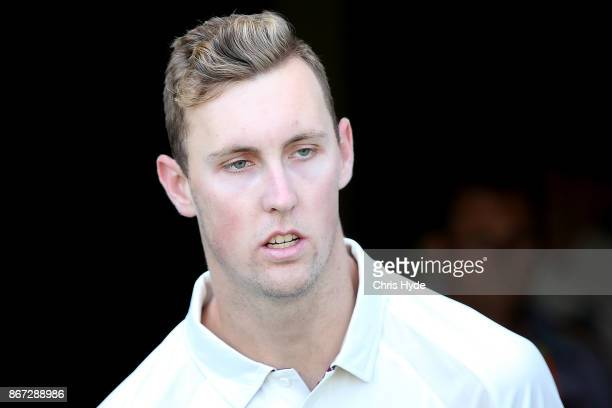 Billy Stanlake of the Bulls looks on during day three of the Sheffield Shield match between Queensland and Victoria at the Gabba on October 28 2017...