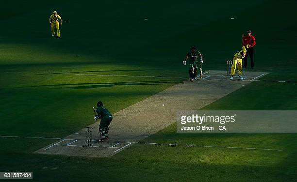 Billy Stanlake sends down a delivery during game one of the One Day International series between Australia and Pakistan at The Gabba on January 13...