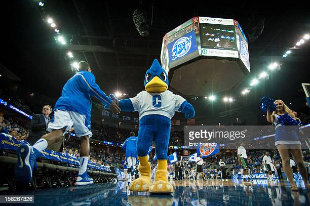 Billy The Bluejay welcomes the Creighton basketball team to the court to play the North Texas Mean Green at CenturyLink Center on November 9 2012 in...