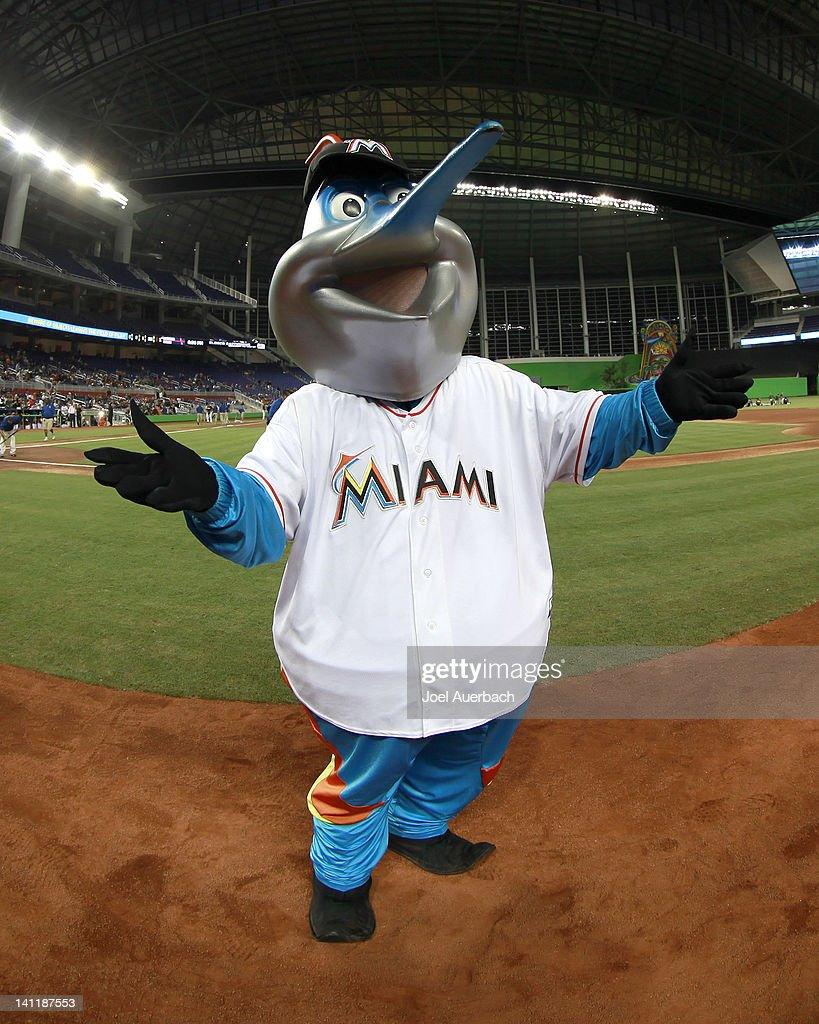 'Billy the Marlin' mascot of the Miami Marlins stands on the field prior to the start of the game against the Miami Hurricanes at Marlins Park on...