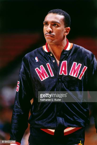 Billy Thompson of the Miami Heat prepares for a game circa 1991 in Inglewood California NOTE TO USER User expressly acknowledges and agrees that by...