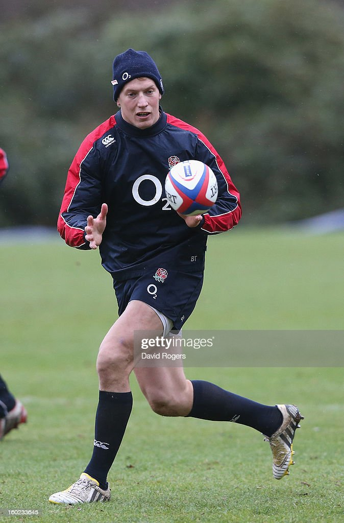 Billy Twelvetrees catches the ball during the England training session held at Pennyhill Park on January 28, 2013 in Bagshot, England.