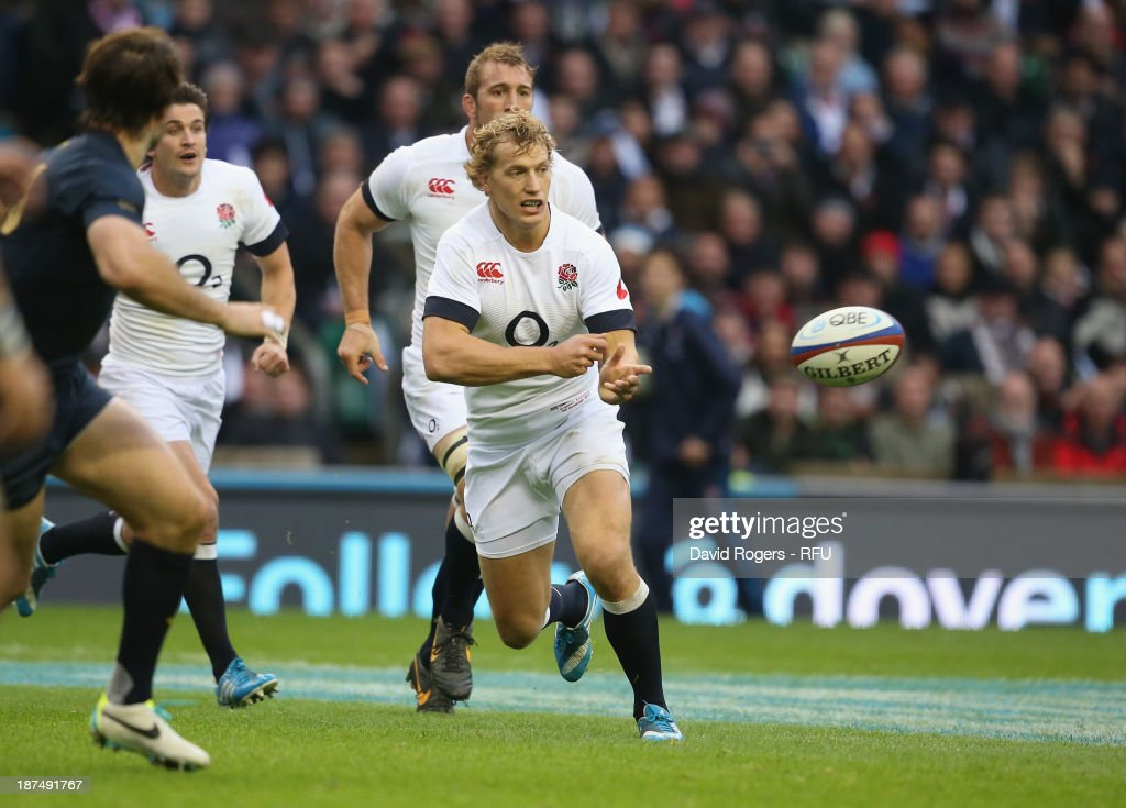 <a gi-track='captionPersonalityLinkClicked' href=/galleries/search?phrase=Billy+Twelvetrees&family=editorial&specificpeople=6175351 ng-click='$event.stopPropagation()'>Billy Twelvetrees</a> of England passes the ball during the QBE International match between England and Argentina at Twickenham Stadium on November 9, 2013 in London, England.