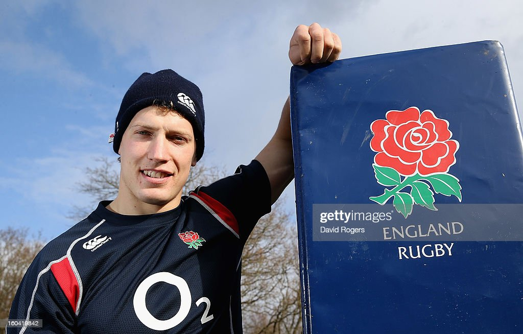 <a gi-track='captionPersonalityLinkClicked' href=/galleries/search?phrase=Billy+Twelvetrees&family=editorial&specificpeople=6175351 ng-click='$event.stopPropagation()'>Billy Twelvetrees</a> of England poses during an England training session at Pennyhill Park on January 31, 2013 in Bagshot, England.