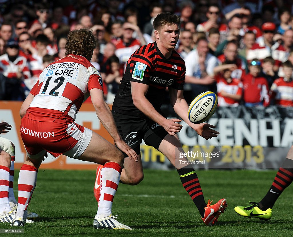 Billy Twelvetrees of Gloucester and Owen Farrell of Saracens during the Aviva Premiership match between Gloucester and Saracens at Kingsholm Stadium on April 20, 2013 in Gloucester, England.