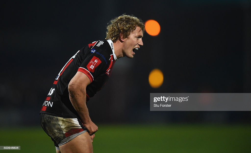 Billy Twelvetrees of Gloucester reacts during the European Rugby Challenge Cup match between Worcester Warriors and Gloucester Rugby at Sixways...