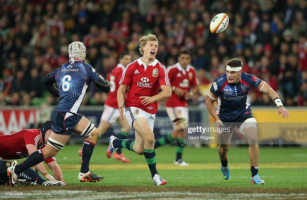 Billy Twelvetrees of the Lions attempts to gather the loose ball during the International Tour Match between the Melbourne Rebels and the British & Irish Lions at AAMI Park on June 25, 2013 in Melbourne, Australia.
