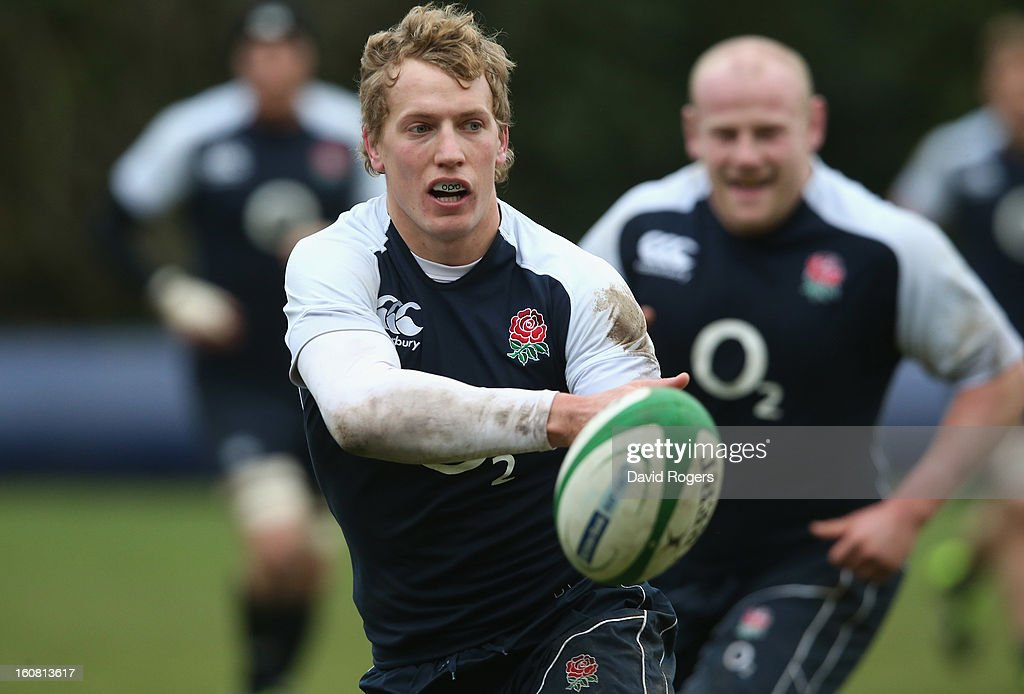 <a gi-track='captionPersonalityLinkClicked' href=/galleries/search?phrase=Billy+Twelvetrees&family=editorial&specificpeople=6175351 ng-click='$event.stopPropagation()'>Billy Twelvetrees</a> passes the ball during the England training session held at Pennyhill Park on February 6, 2013 in Bagshot, England.