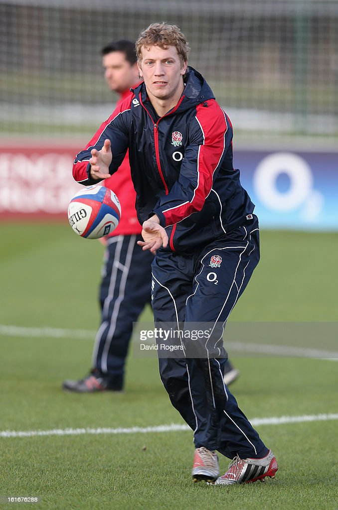 <a gi-track='captionPersonalityLinkClicked' href=/galleries/search?phrase=Billy+Twelvetrees&family=editorial&specificpeople=6175351 ng-click='$event.stopPropagation()'>Billy Twelvetrees</a> passes the ball during the England training session held at St Georges Park on February 14, 2013 in Burton-upon-Trent, England.