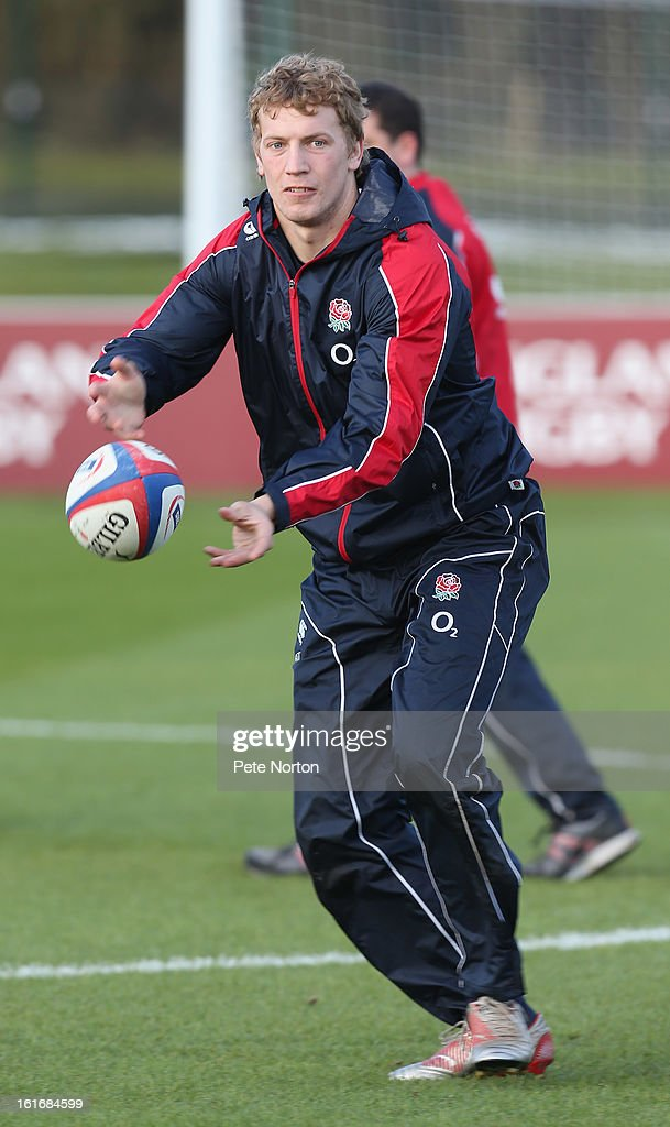 Billy Twelvetrees passes the ball during the England training session held at St Georges Park on February 14, 2013 in Burton-upon-Trent, England.
