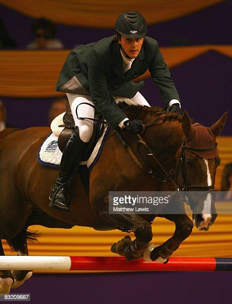 Billy Twomey of Ireland riding Fantasia competes in the Dick Turpin Stakes on the third day of the Horse of the Year Show at the NEC on October 10...