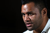 Billy Vunipola faces the media during the England media session held at the Crowne Plaza hotel at Coogee Beach on June 20 2016 in Sydney Australia