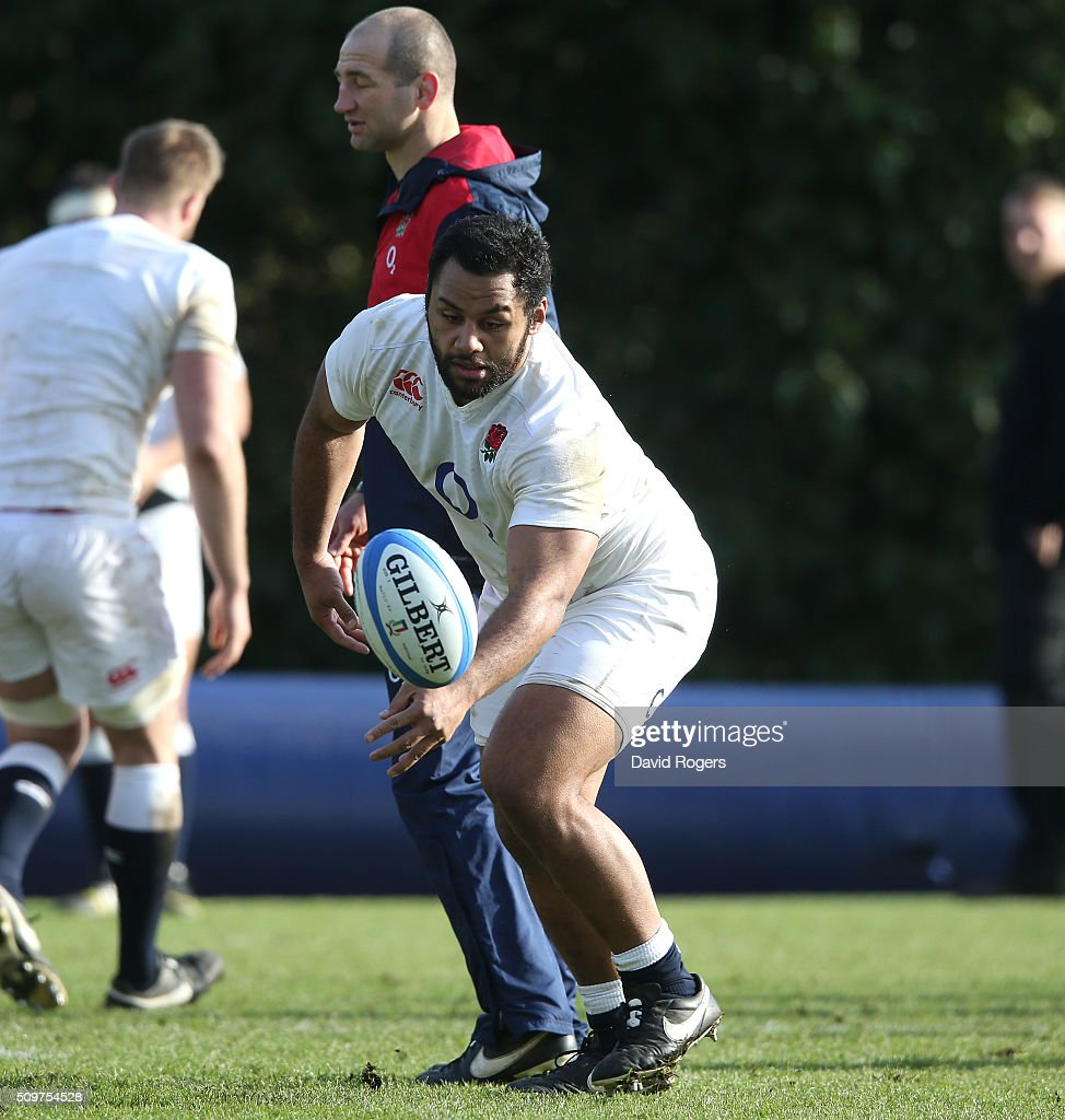 <a gi-track='captionPersonalityLinkClicked' href=/galleries/search?phrase=Billy+Vunipola&family=editorial&specificpeople=5771576 ng-click='$event.stopPropagation()'>Billy Vunipola</a> gathers the loose ball during the England training session held at Pennyhill Park on February 12, 2016 in Bagshot, England.