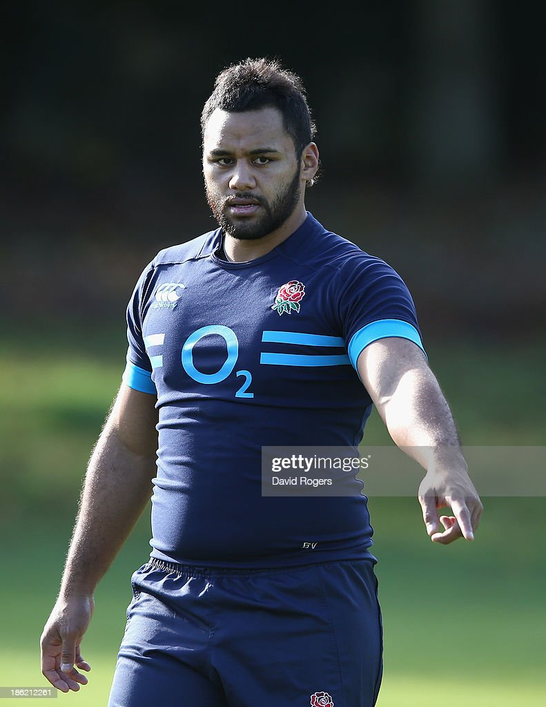 Billy Vunipola looks on during the England training session held at Pennyhill Park on October 29, 2013 in Bagshot, England.