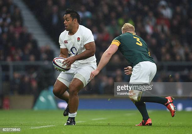 Billy Vunipola of England and Vincent Koch of South Africa during the Old Mutual Wealth Series match between England and South Africa at Twickenham...