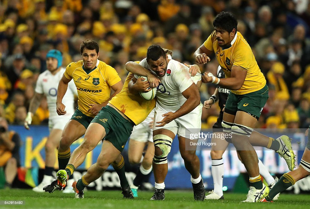 Billy Vunipola of England breaks with the ball during the International Test match between the Australian Wallabies and England at Allianz Stadium on June 25, 2016 in Sydney, Australia.