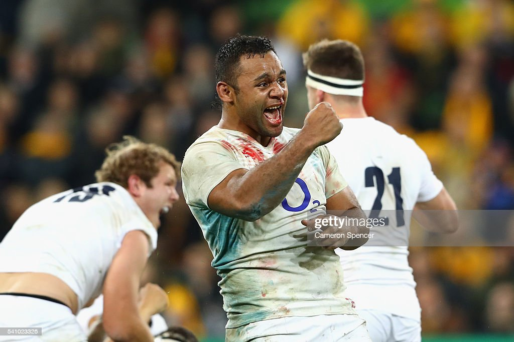 Billy Vunipola of England celebrates a penalty during the International Test match between the Australian Wallabies and England at AAMI Park on June...