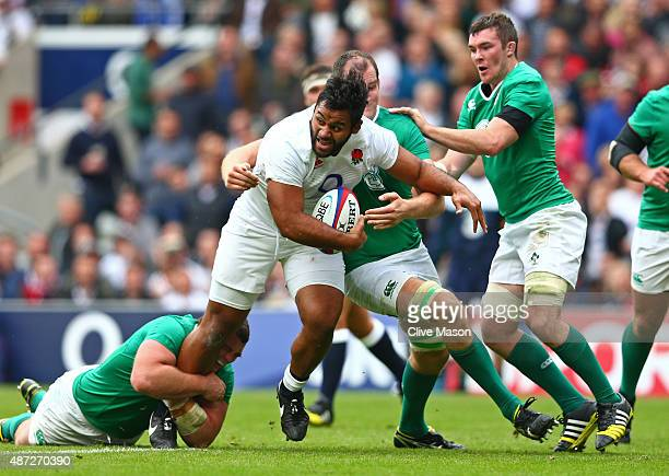 Billy Vunipola of England charges upfield during the QBE International match between England and Ireland at Twickenham Stadium on September 5 2015 in...