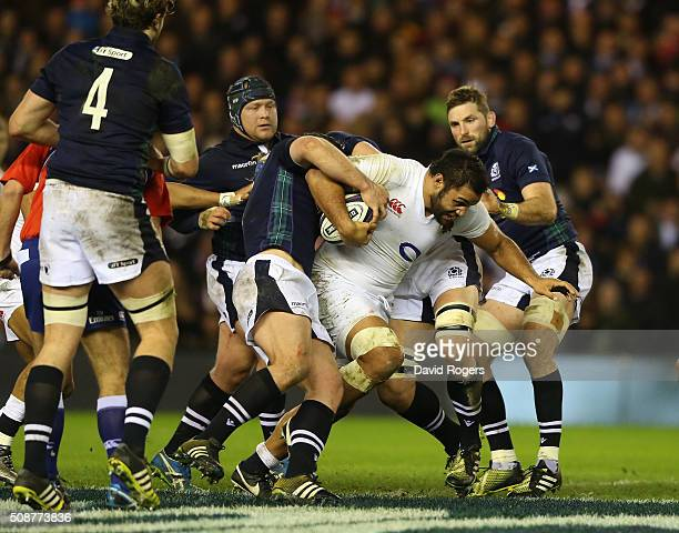 Billy Vunipola of England charges upfield during the RBS Six Nations match between Scotland and England at Murrayfield Stadium on February 6 2016 in...