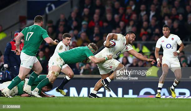 Billy Vunipola of England charges upfield during the RBS Six Nations match between England and Ireland at Twickenham Stadium on February 27 2016 in...