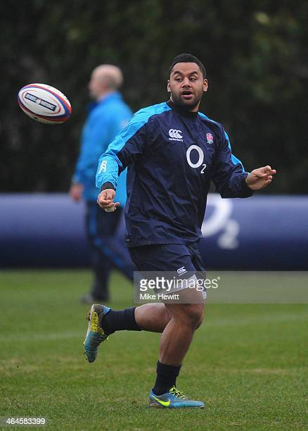 Billy Vunipola of England in action during an England training session at Pennyhill Park on January 23 2014 in Bagshot England