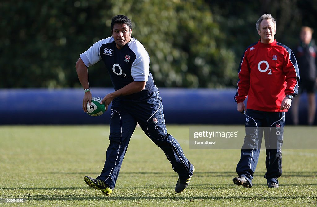 Billy Vunipola of England in action during the England training session at Pennyhill Park on February 8, 2013 in Bagshot, England.