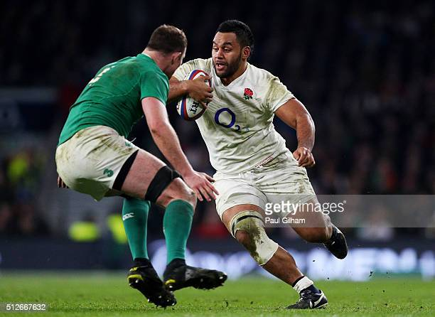Billy Vunipola of England is challenged by Devin Toner of Ireland during the RBS Six Nations match between England and Ireland at Twickenham Stadium...
