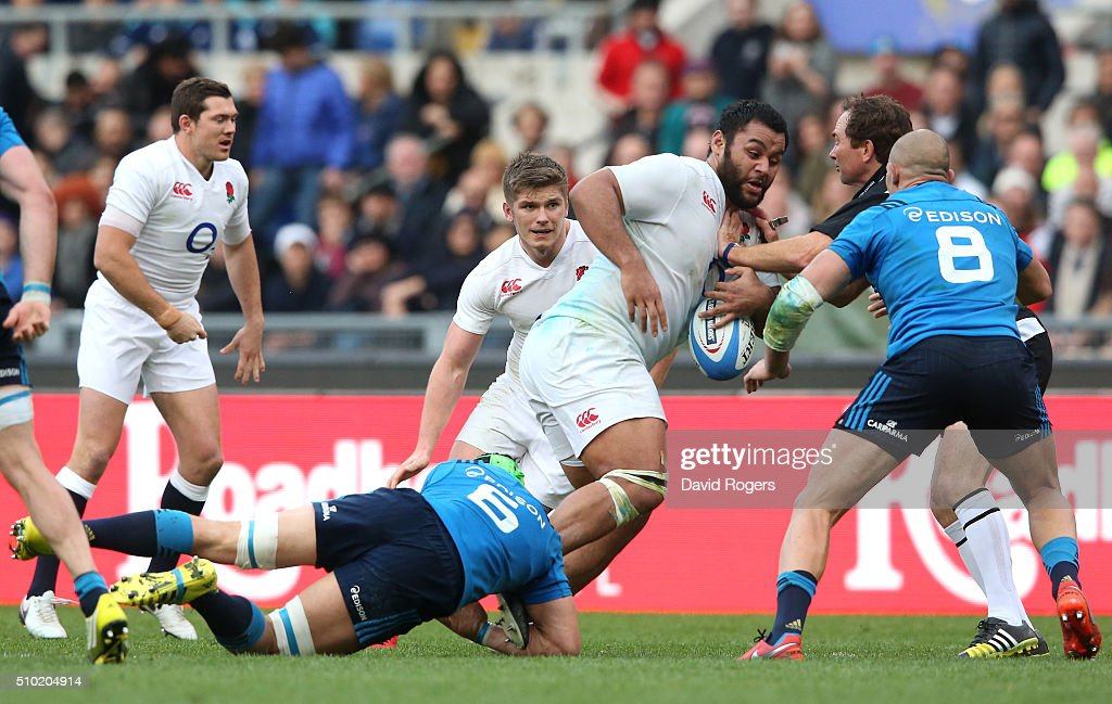 <a gi-track='captionPersonalityLinkClicked' href=/galleries/search?phrase=Billy+Vunipola&family=editorial&specificpeople=5771576 ng-click='$event.stopPropagation()'>Billy Vunipola</a> of England is tackled by Francesco Minto of Italy during the RBS Six Nations match between Italy and England at the Stadio Olimpico on February 14, 2016 in Rome, Italy.