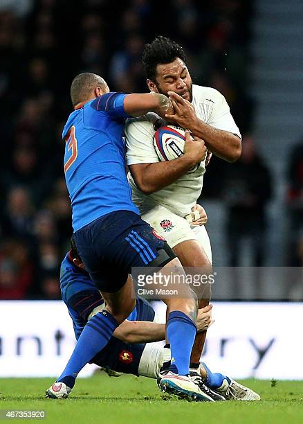 Billy Vunipola of England is tackled by Gael Fickou of France during the RBS Six Nations match between England and France at Twickenham Stadium on...