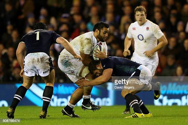 Billy Vunipola of England is tackled by Ross Ford of Scotland during the RBS Six Nations match between Scotland and England at Murrayfield Stadium on...