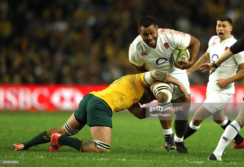 Billy Vunipola of England is tackled during the International Test match between the Australian Wallabies and England at Allianz Stadium on June 25, 2016 in Sydney, Australia.
