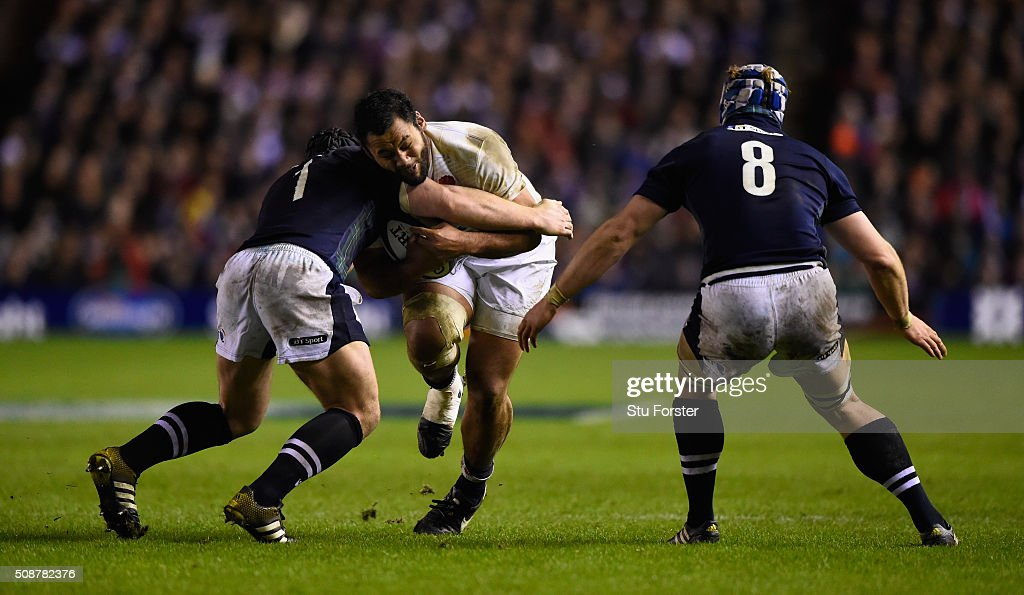 Billy Vunipola of England runs at the Scotland defence during the RBS Six Nations match between Scotland and England at Murrayfield Stadium on...