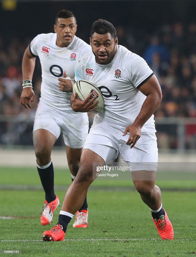 Billy Vunipola of England runs with the ball during the International Test Match between the New Zealand All Blacks and England at Forsyth Barr...