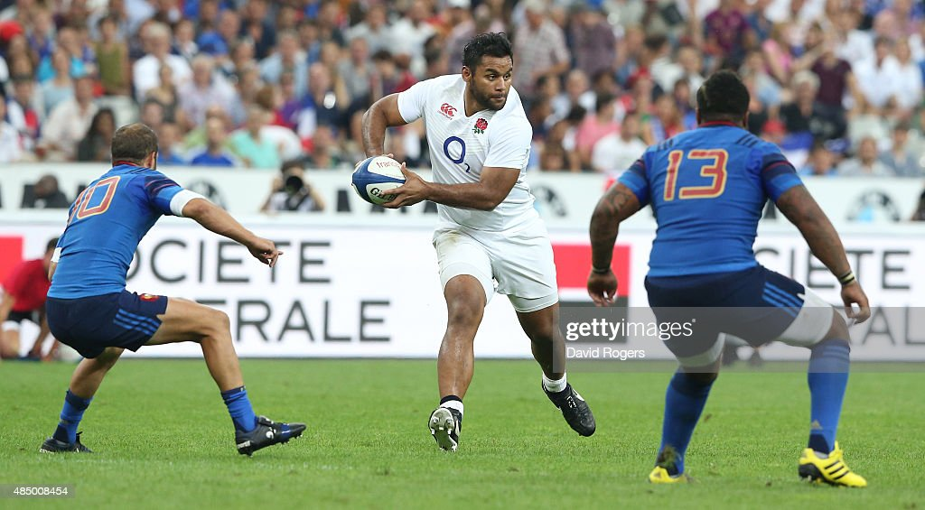 Billy Vunipola of England runs with the ball during the International match between France and England at Stade de France on August 22 2015 in Paris...