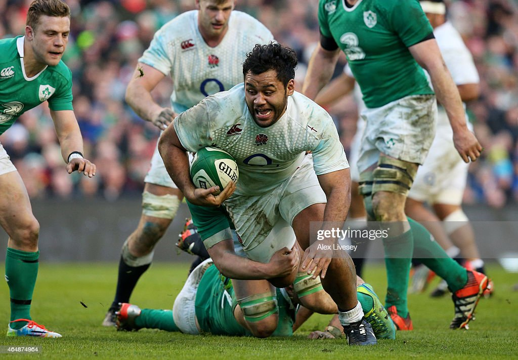 Billy Vunipola of England runs with the ball during the RBS Six Nations match between Ireland and England at the Aviva Stadium on March 1 2015 in...
