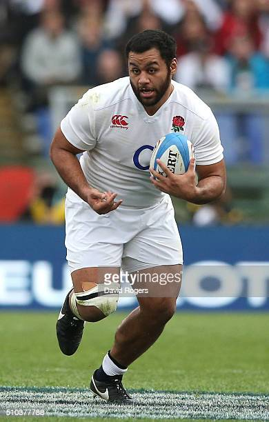 Billy Vunipola of England runs with the ball during the RBS Six Natiions match between Italy and England at the Stadio Olimpico on February 14 2016...