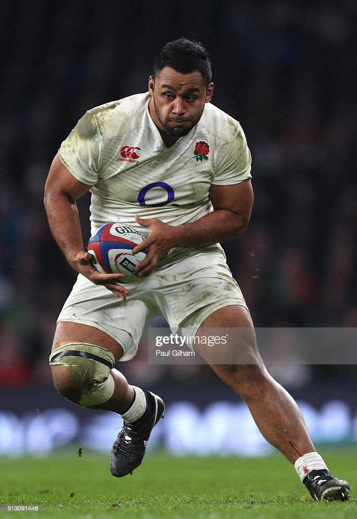 Billy Vunipola of England runs with the ball during the RBS Six Nations match between England and Ireland at Twickenham Stadium on February 27 2016...