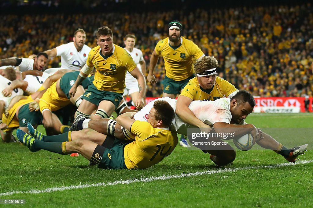 <a gi-track='captionPersonalityLinkClicked' href=/galleries/search?phrase=Billy+Vunipola&family=editorial&specificpeople=5771576 ng-click='$event.stopPropagation()'>Billy Vunipola</a> of England scores a try during the International Test match between the Australian Wallabies and England at Allianz Stadium on June 25, 2016 in Sydney, Australia.