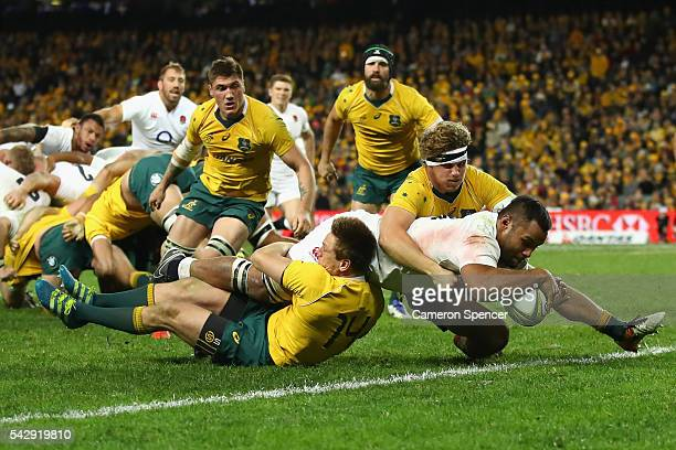 Billy Vunipola of England scores a try during the International Test match between the Australian Wallabies and England at Allianz Stadium on June 25...