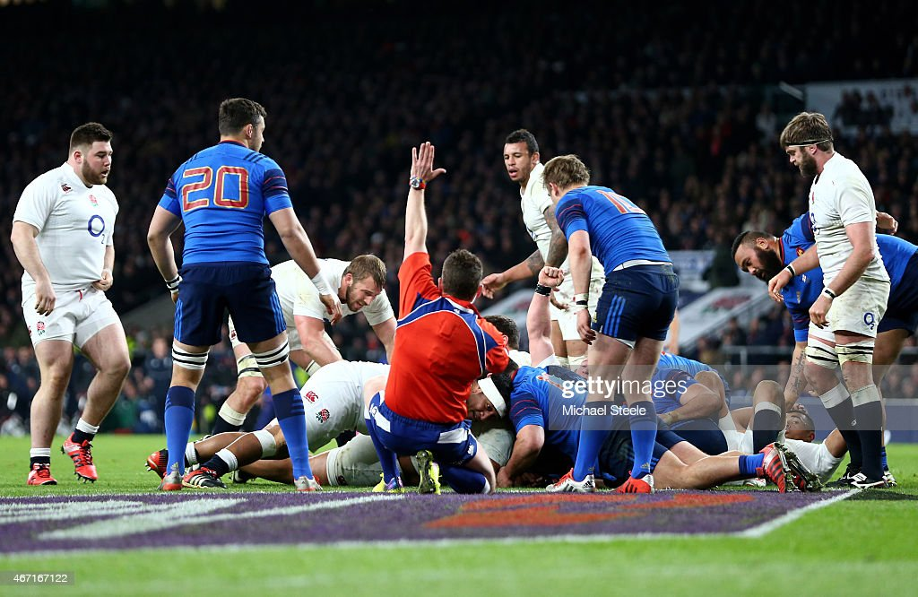 <a gi-track='captionPersonalityLinkClicked' href=/galleries/search?phrase=Billy+Vunipola&family=editorial&specificpeople=5771576 ng-click='$event.stopPropagation()'>Billy Vunipola</a> of England scores England's seventh try during the RBS Six Nations match between England and France at Twickenham Stadium on March 21, 2015 in London, England.