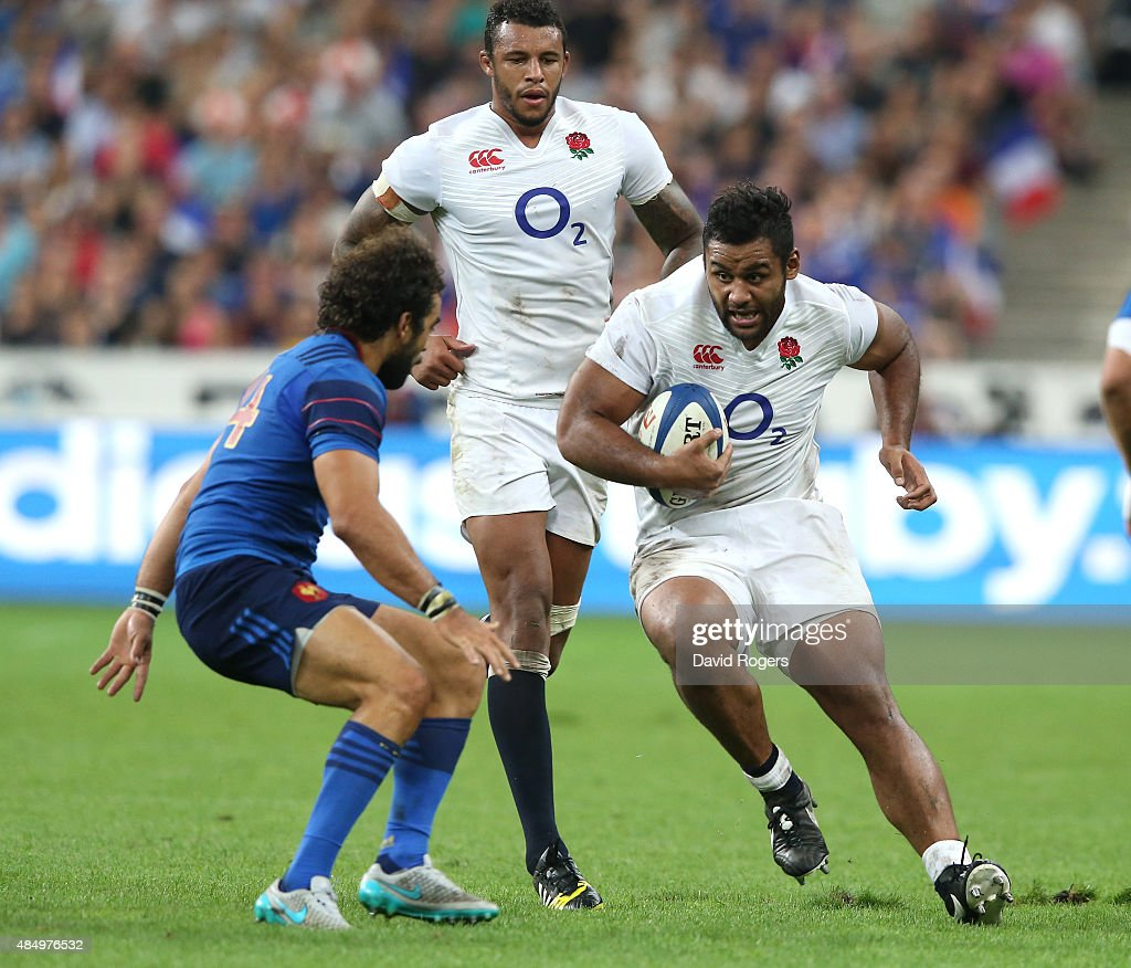 Billy Vunipola of England takes on Yoann Huget during the International match between France and England at Stade de France on August 22 2015 in...