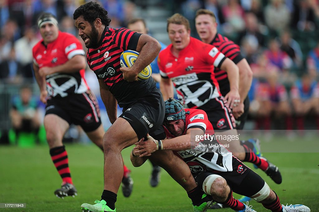 Billy Vunipola of Saracens in action during the pre season friendly match between Saracens and Cornish Pirates at Honourable Artillery Company on August 22, 2013 in London, England.