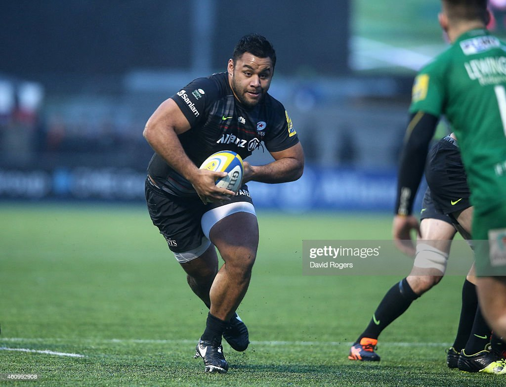 Billy Vunipola of Saracens runs with the ball during the Aviva Premiership match between Saracens and London Irish at Allianz Park on January 3 2015...