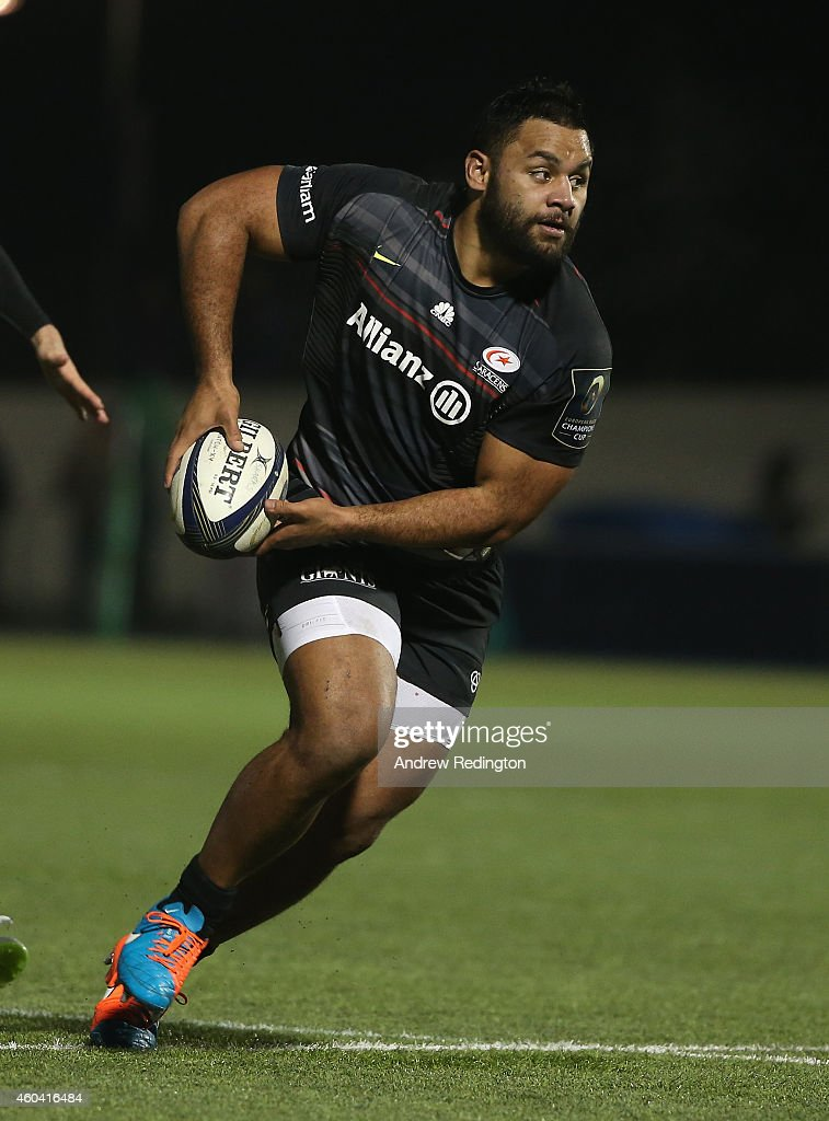 Billy Vunipola of Saracens takes on the Sale Sharks defence during the European Rugby Champions Cup match between Saracens and Sale Sharks at Allianz...