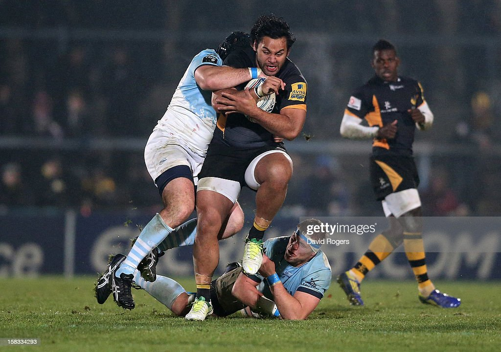 Billy Vunipola of Wasps charges upfield during the Amlin Challenge Cup match between London Wasps and Bayonne at Adams Park on December 13, 2012 in High Wycombe, England.